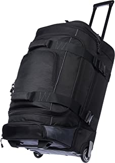 Ripstop Rolling Travel Luggage Duffle Bag With Wheels - 28 Inch, Black
