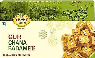 Dhampure Speciality Gur Chana Badam Bite - Gur Based Desi Ghee Indian Sweets - 400g (Pack of 1 - 400g Each)