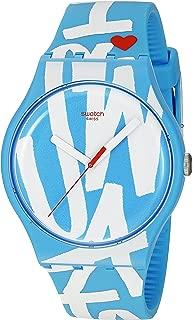 Swatch Unisex SUOS103 White in Blue Analog Display Quartz Blue Watch
