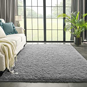 Grey Area Rug for Bedroom Living Room Carpet Home Decor, Kimicole Upgraded 4x5.9 Cute Fluffy Rug for Apartment Dorm Room Essentials for Teen Girls Kids, Shag Nursery Rugs for Baby Room Decorations