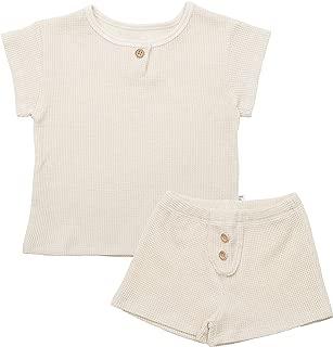 AVAUMA Design Newborn Baby Little Boy Girl Pajamas Summer Ribbed Short Sleeve Sets Pjs Kids Clothes