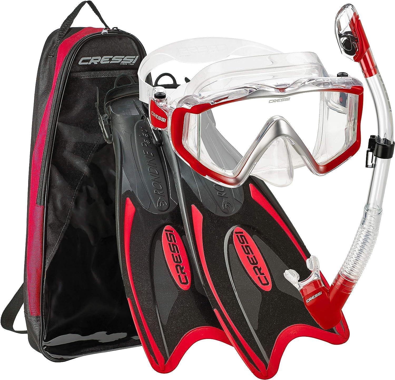 Cressi Palau Mask Fin Snorkel Set with Snorkeling Gear Bag
