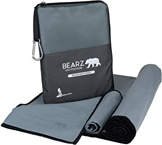 BEARZ Outdoor Microfiber Towel Set, 2 Pack Quick Dry Towel. Lightweight Beach Towel, Workout Towel. Fast Drying Ultra Absorbent Gym Towels for Travel, Camping. Face Towel Included.