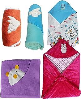 My NewBorn Blankets Cum Wrapper Gift Set of 5 Pcs (Unisex)