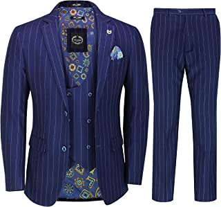 Mens 3 Piece Double Breasted Suit 1920s Retro Navy Pinstripe Classic Tailored Fit