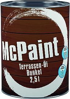 McPaint Terrassen Öl, Expresstrocknung und hoher UV-Schutz, wasserverdünnbar, speziell für verschiedene Holzarten in natur dunkel, 2,5 L