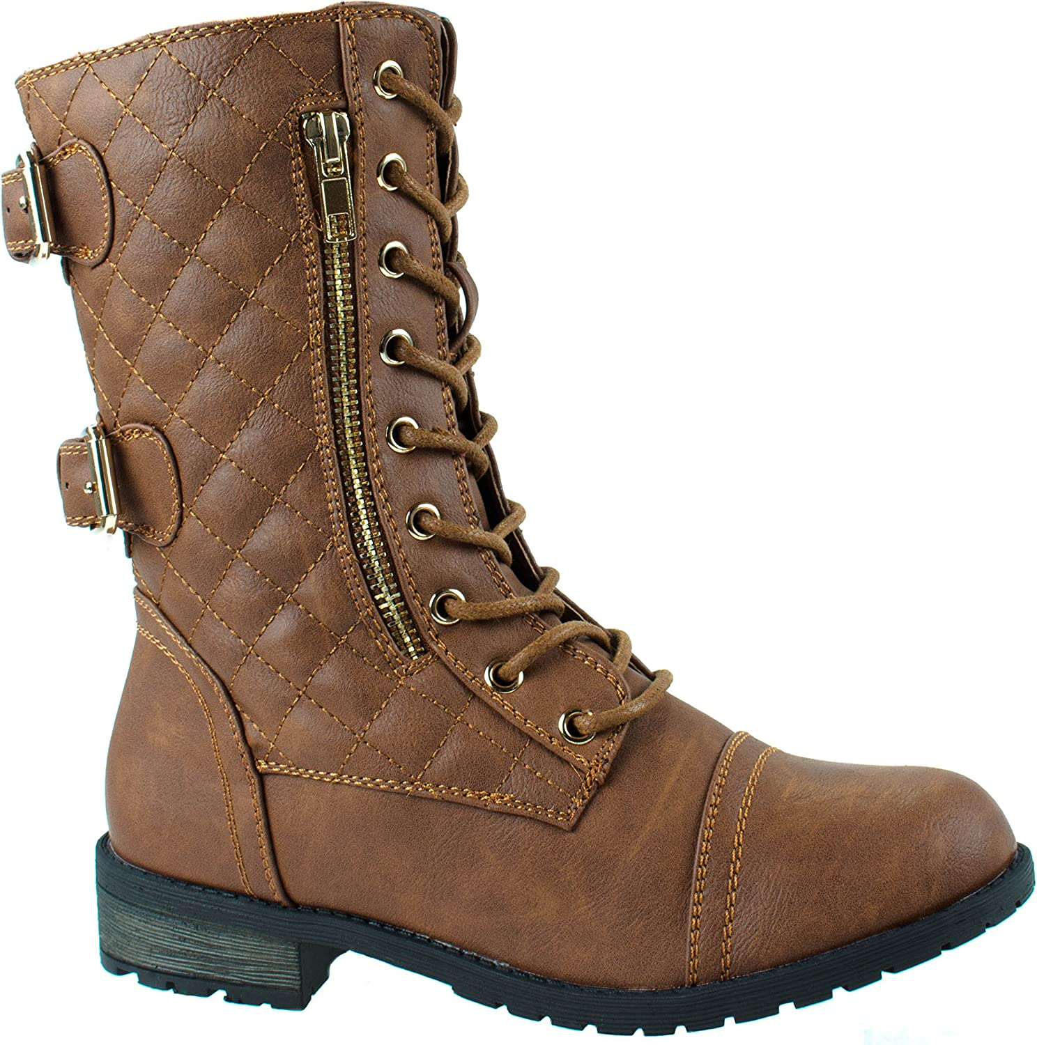 Forever Women's Mango-79 Military Leatherette Dual Buckle Zipper Lace Up Mid Calf Boots
