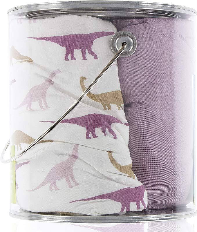 Kickee Pants Crib Sheet Set Of 2 Natural Sauropods And Sweet Pea