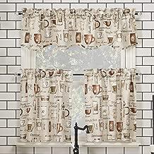 No. 918 Bristol Coffee Shop Semi-Sheer Rod Pocket Kitchen Curtain Valance and Tiers Set, 54
