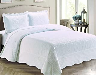 Kids Zone Home Linen 3 Piece King/Cal King Size Veronica Solid White Color Coverlet Bedspread.