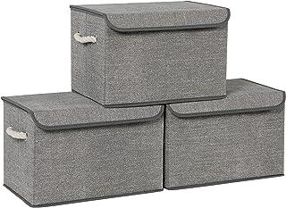 SONGMICS Pudełka do przechowywania, zestaw 3, materiałowe pudełka z pokrywą, bawełniane uchwyty, wygląd lnu, szary RFB013G02