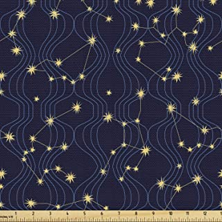 Lunarable Constellation Fabric by The Yard, Zodiac Themed Connected Stars with Vertical Wavy Lines, Decorative Fabric for ...
