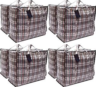 DECO EXPRESS Paquete de 8 Bolsas de Compras XX-Large Strong Storage Laundry - Bolsas XXL con Cremallera y Asas a Cuadros - Bolsa Reutilizable con Cierre de Cremallera (Surtido)