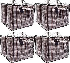 Paquet de 8 sacs à provisions pour la buanderie XX-Large STRONG - Sacs de déménagement XXL avec fermeture à glissière et poignées à carreaux - Sac de rangement réutilisable pour magasin (assorti)