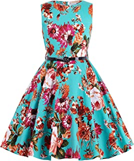 Girls Sleeveless Vintage Print Swing Party Dresses 6-15 Years