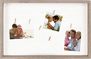 DesignOvation Tweden Picture Frame 25 inches by 16.5 inches Chicken Wire with Wood Clothespin Clips, 25