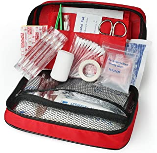 First Aid Kit, 130 Piece First Aid Supplies for Home, Wilderness, Car, Travel, Office, Workplace, Businesses, Camping, Boating, Medic Trauma Bag, Medical Emergency Kit