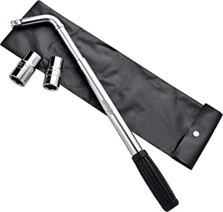 EPAuto Telescoping Lug Wrench, Wheel Wrench with CR-V Sockets (17/19, 21/22mm)