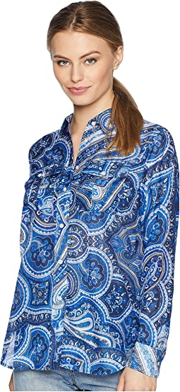 Petite Paisley Silk-Blend Shirt