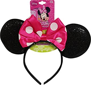 Genuine UPD Minnie Mouse Sparkled Ear Shaped Headband with Hot Pink Bow Disney Official Licensed (