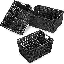 Whitmor Rattique Storage Baskets Set of 3, Black