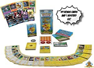 Let's Play Pikachu Theme Lot Bundle - Featuring 1 Sealed Lets Play Pikachu Theme Deck with a Bonus 50 Pokemon Including 1 GX! Includes Golden Groundhog Treasure Chest Storage Box!