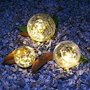 """Solar Lights Outdoor Garden Decor, 1 Pack Cracked Glass Ball Waterproof Warm White LED for Outside Decorations Pathway Patio Yard Lawn Gardening Gifts Accessories, 1 Globe (3.9"""")"""