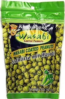 Khao Shong Erdnüsse mit Wasabi, knackige Erdnüsse im scharfen Teigmantel, knusprige Snacks für unterwegs, mittlere Schärfe, 1 x 140 g Standbeutel