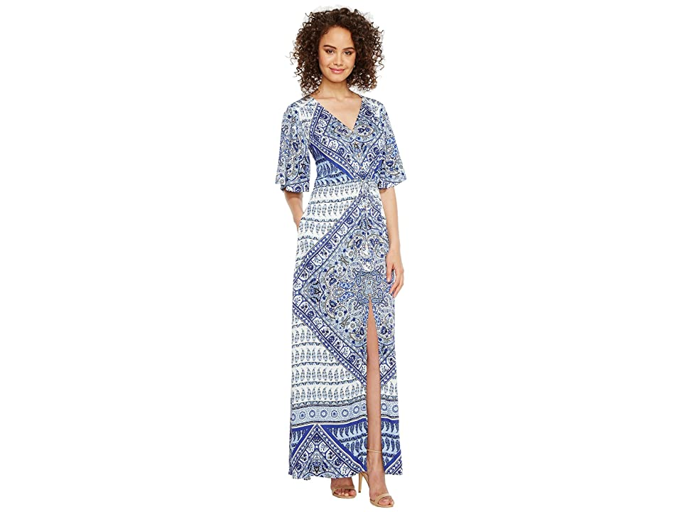 Hale Bob Beach Belle Rayon Stretch Satin Woven Maxi Dress (Navy) Women