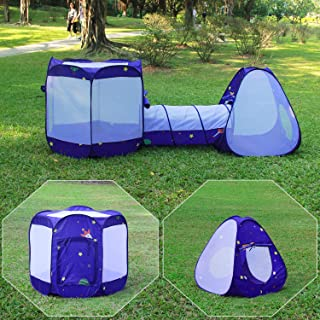 Homfu 3 in 1 Pop up Tunnel Tent for Kids Play Indoor Outdoor for Children Toddler Boys Girls As Toy Crawl Play Tent