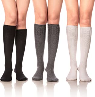 Women Girls' Cable Knit Cotton Long Knee High Socks 3 Pairs