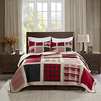"""Woolrich Reversible Quilt Cabin Lifestyle Design - All Season, Breathable Coverlet Bedspread Bedding Set, Matching Shams, Full/Queen(92""""x96""""), Plaid Red, 3 Piece"""