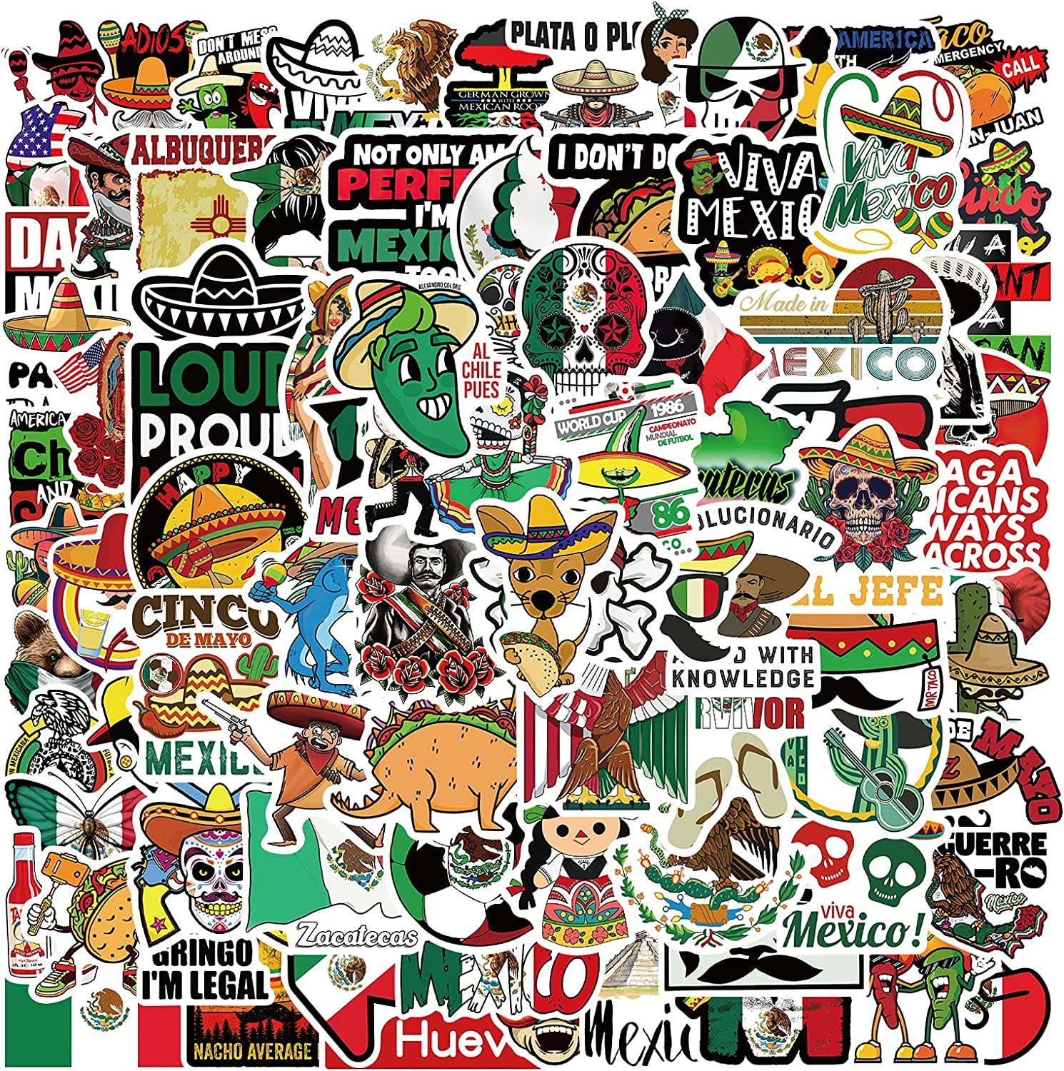 100PCS Mexican Stickers Calcomanías Mexicanas Stickers Waterproof Vinyl Stickers for Kids Girls Teens Adults Decal Decor for Water Bottle Laptop Skateboard
