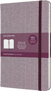 Moleskine - Cuaderno Blend Collection, Cuaderno con Hojas de Rayas, Tapa Dura de Tela con Motivo de Espigas y Cierre Elástico, Tamaño Grande 13 x 21 cm, Color Púrpura, 240 páginas