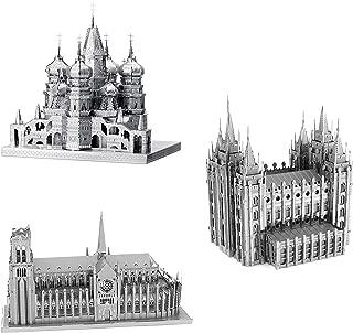 Kit de Montagem Fascinations ICONX 3D Metal Model Kits Set of 3 - St Basil's Cathedral - Notre Dame Cathedral - Salt Lake City Temple