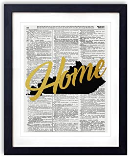 Kentucky Home Gold Foil Art Print - Vintage Dictionary Reproduction Art Print