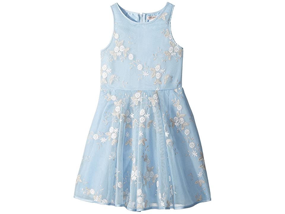 Nanette Lepore Kids Embroidered Metallic Dress (Little Kids/Big Kids) (Light Blue) Girl