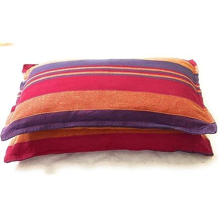 Rangbhar Handloom Cotton Pillow Covers, Set of 2 Khadi Cotton Pillow Covers, Striped, 18 x 27 inch, Pink