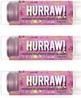 Hurraw! Echium Raspberry Tinted Lip Balm, 3 Pack – Organic, Certified Vegan, Cruelty and Gluten Free. Non-GMO, 100% Natura...