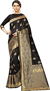 Black Silk Saree Banarsi Indian/Pakistani Traditional Bollywood Ethnic Golden Border Sari with Unstitch Blouse