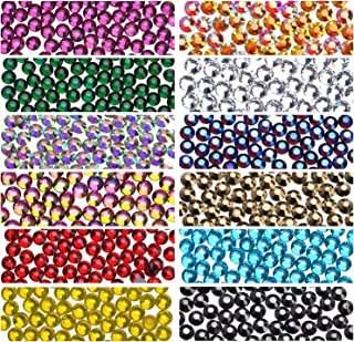 Hotfix Rhinestones Round Shape Flatback Crystal Glass Flatback Nail Art (12 Mixed Colors, 3mm)