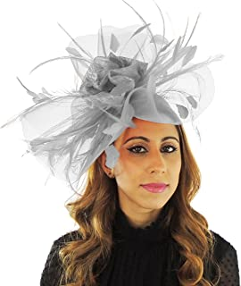 Hats By Cressida CRIN, Feather and Sinamay Ascot Fascinator with Headband