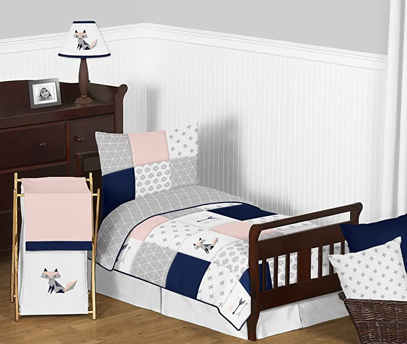 Sweet Jojo Designs 5 Piece Navy Blue Pink And Grey Patchwork Woodland Fox And Arrow Girl Toddler Kid Childrens Bedding Set Comforter Sham And Sheets