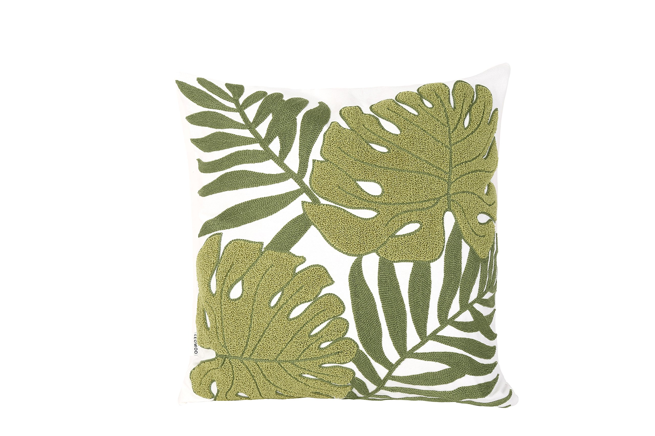 Leowoo Pillowcase Throw Pillow Cover Three Dimensional Embroidery Modern Natural Plant Leaves Cushion Covers 18 X18 45cm X45cm D Buy Online In Dominica At Dominica Desertcart Com Productid 104847281