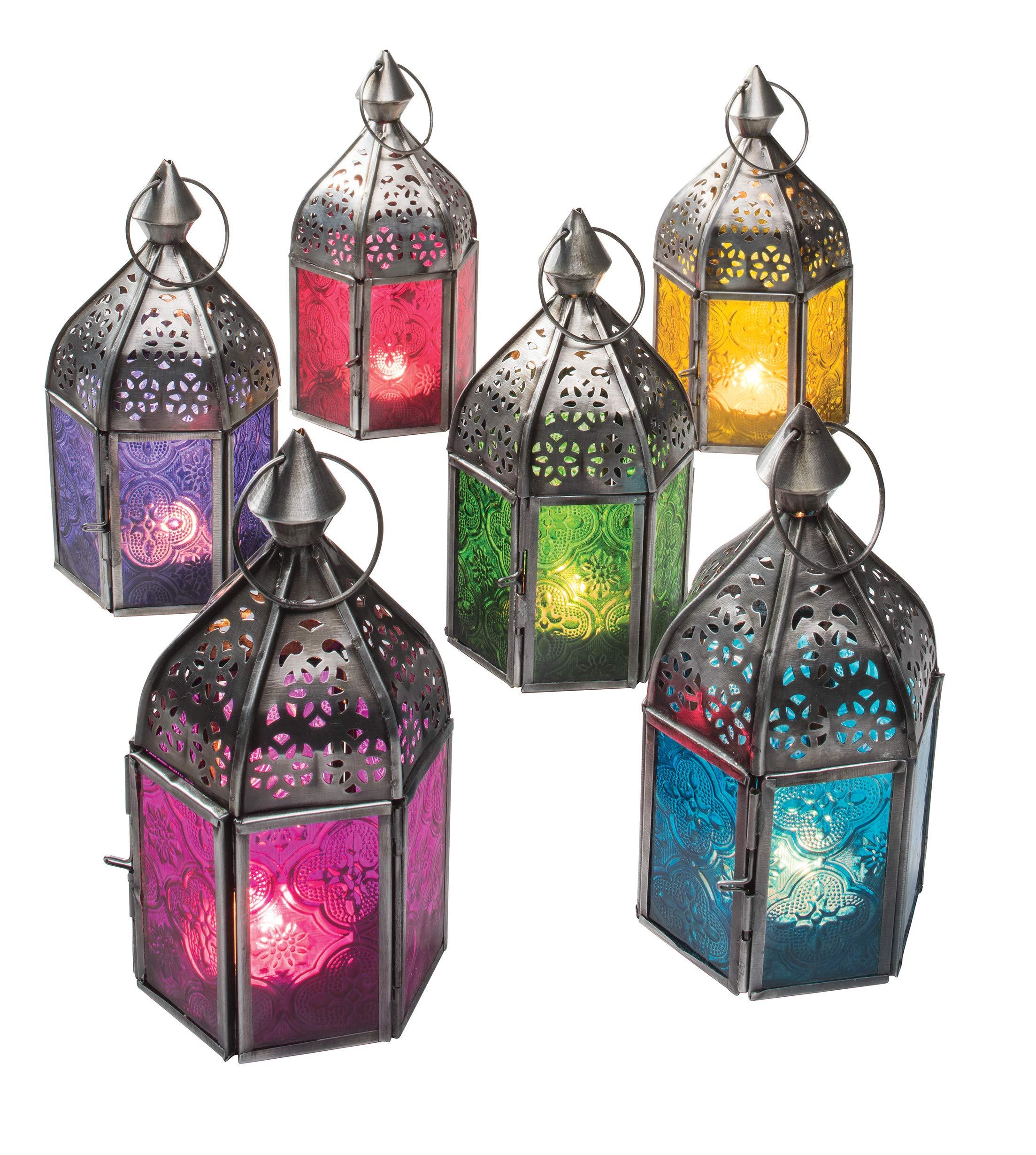 11/x 11/x 24/cm Home /& Garden et Tailles Petite Taille Style marocain Photophore /à Suspendre Indien//marocain Fer et Verre Lanterne