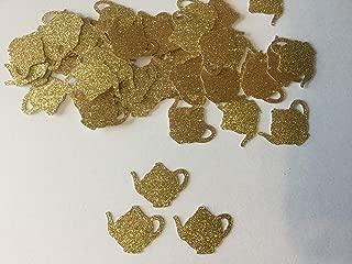 Gold Glitter Teapot Confetti, Table Confetti, Tea Party Decoration, 100 pieces