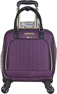 """Aimee Kestenberg Women's Florence 16"""" Polyester Twill 4-Wheel Underseater Carry-on Luggage, Plum"""