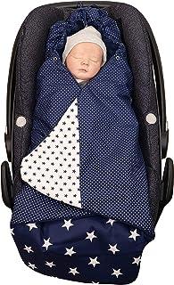 ULLENBOOM  Einschlagdecke Babyschale Blaue Sterne Made in EU - Babydecke für Autositz z.B. Maxi Cosi , Babywanne oder Kinderwagen, ideale Decke für Babys 0 bis 9 Monate