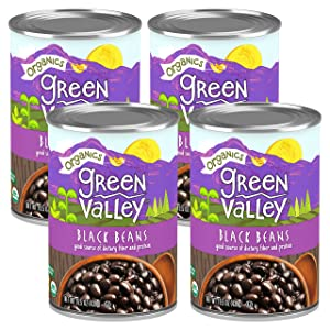 Green Valley Organics Black Beans | Certified Organic | Deliciously Tender, Creamy & Mild | Deep Dark Skin | Good Source of Dietary Fiber & Protein | 15.5 oz can (Pack of 4)