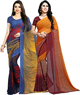 Anand Sarees georgette with blouse piece Saree (Pack of 2) (COMBO_1475_1490_ multicoloured_ OS)